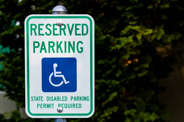 Reserved handicapped permit parking only sign stock photo
