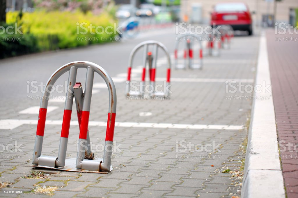 Reserved lock parking in the city stock photo