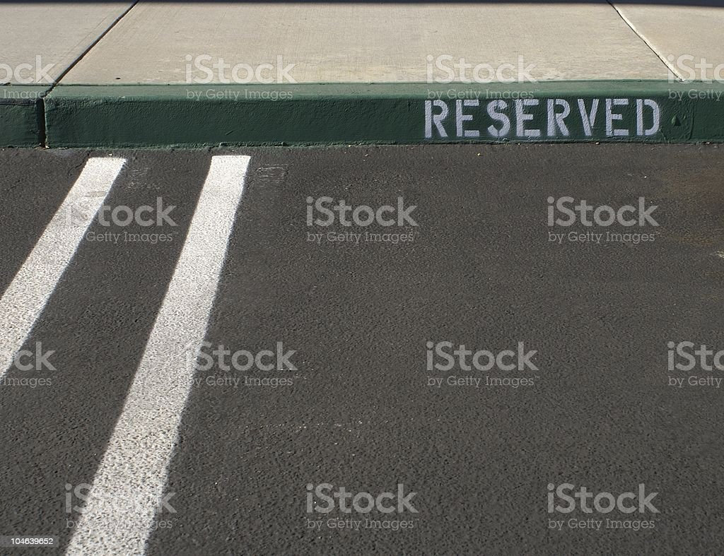 Reserved Parking Space stock photo