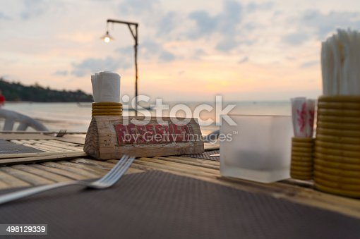 istock Reserved sign on a table at a beach restaurant 498129339