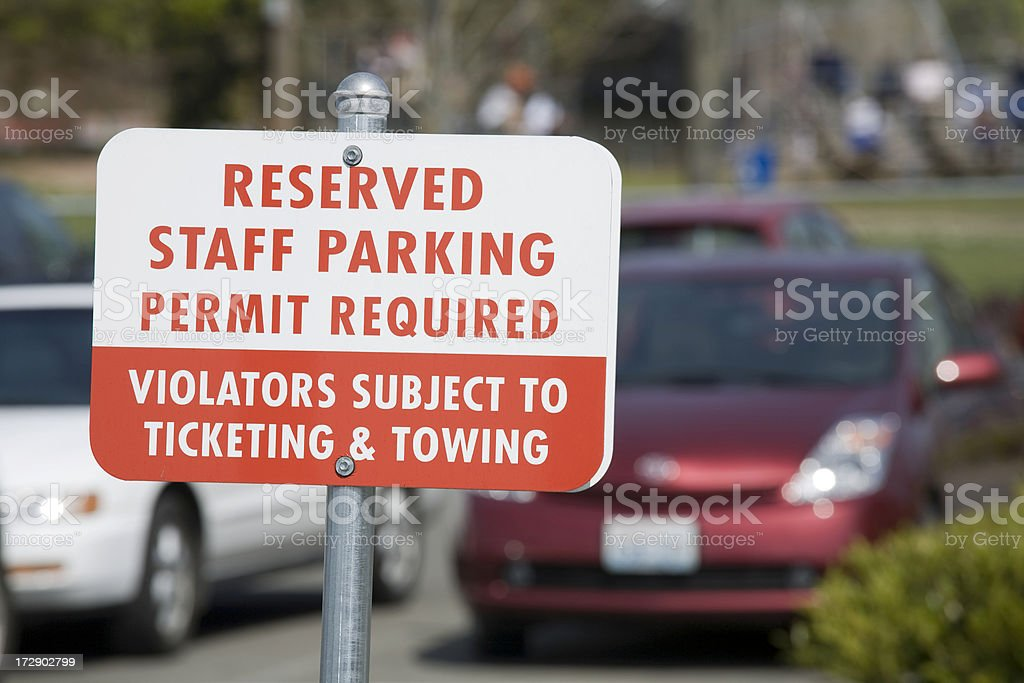 Reserved Staff Parking Sign stock photo