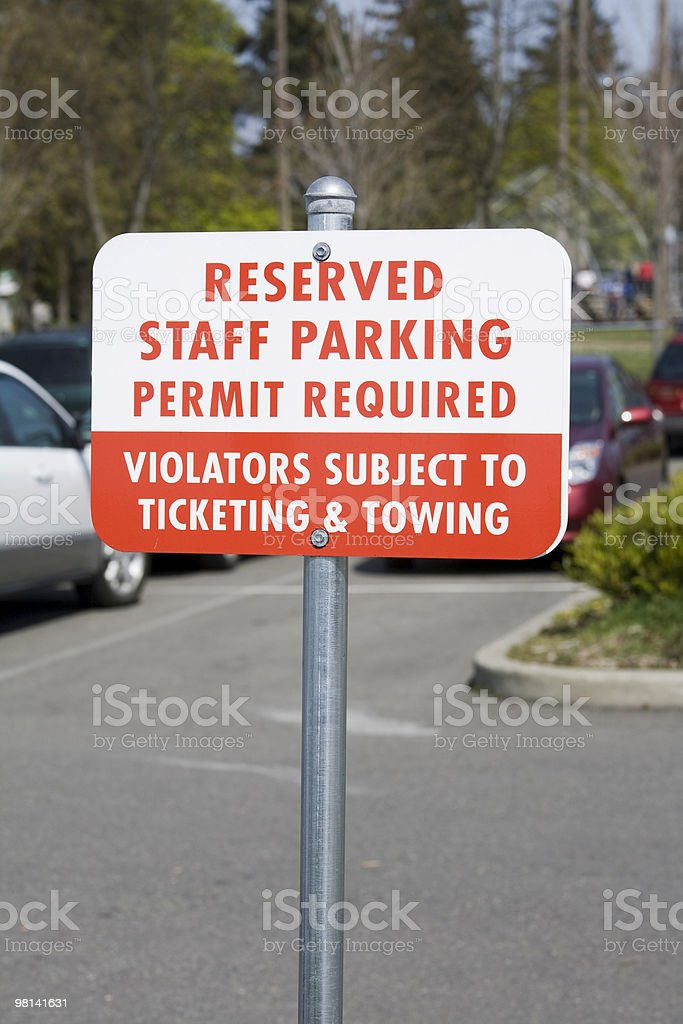 Reserved Staff Parking Sign royalty-free stock photo