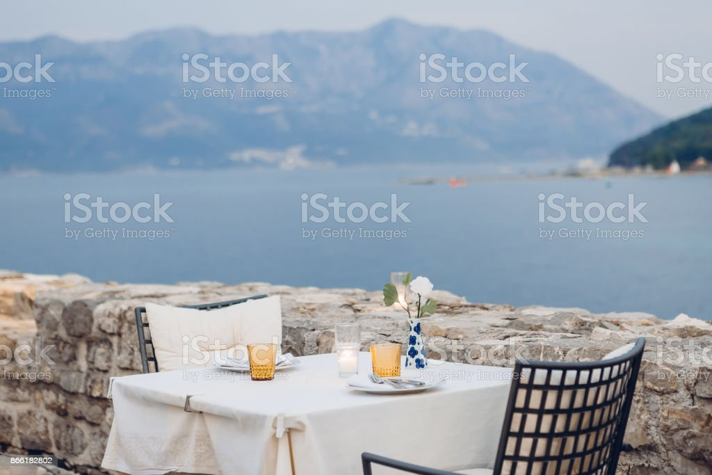 reserved table in a cafe outdoor stock photo
