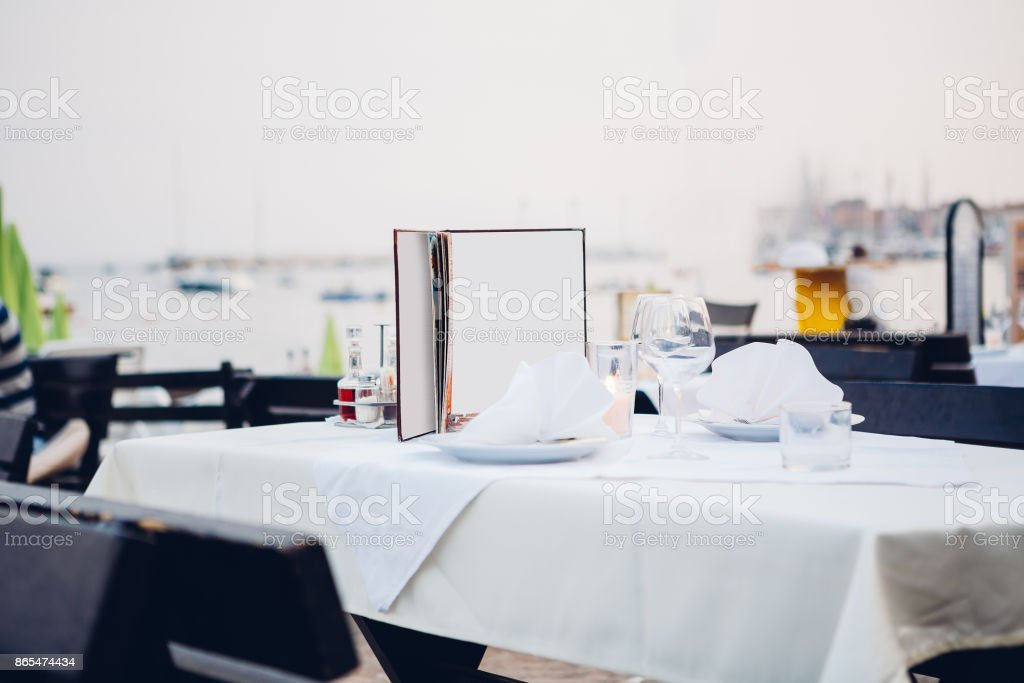 reserved table in a cafe stock photo