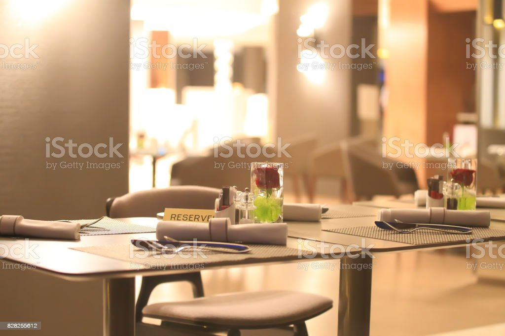 Reserved table in restaraunt stock photo