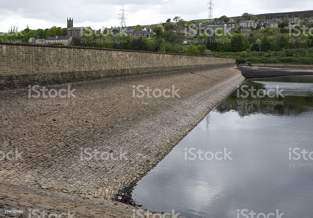 Reservoir and dam, low water royalty-free stock photo