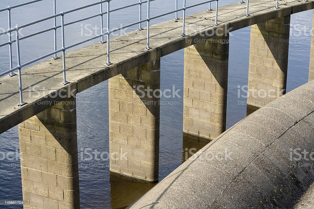 Reservoir details water and brickwork stock photo