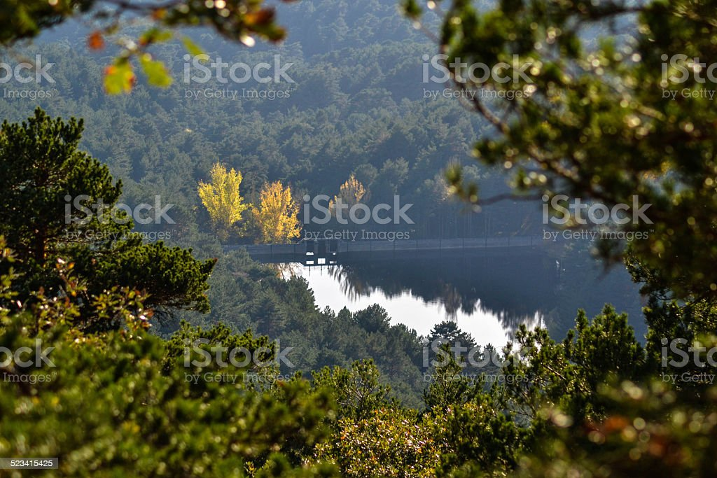 Reservoir in fall stock photo