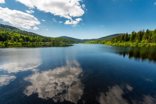 reservoir lake Schwarzenbach in black forest in Germany stock photo
