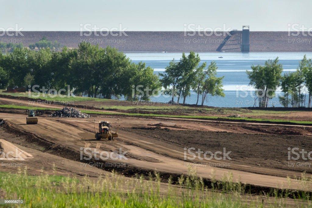 Reservoir road construction steam roller Chatfield State Park Littleton Colorado stock photo