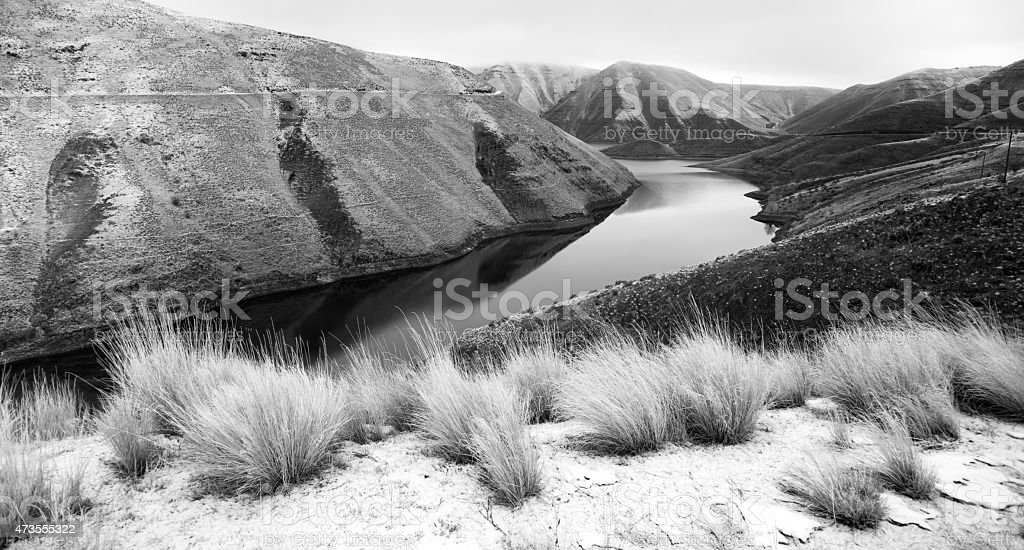 Reservoir Snake River Canyon Cold Frozen Snow Winter Travel Land stock photo