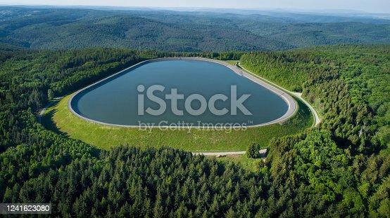Reservoir, storage basin of pumped-storage plant - aerial view