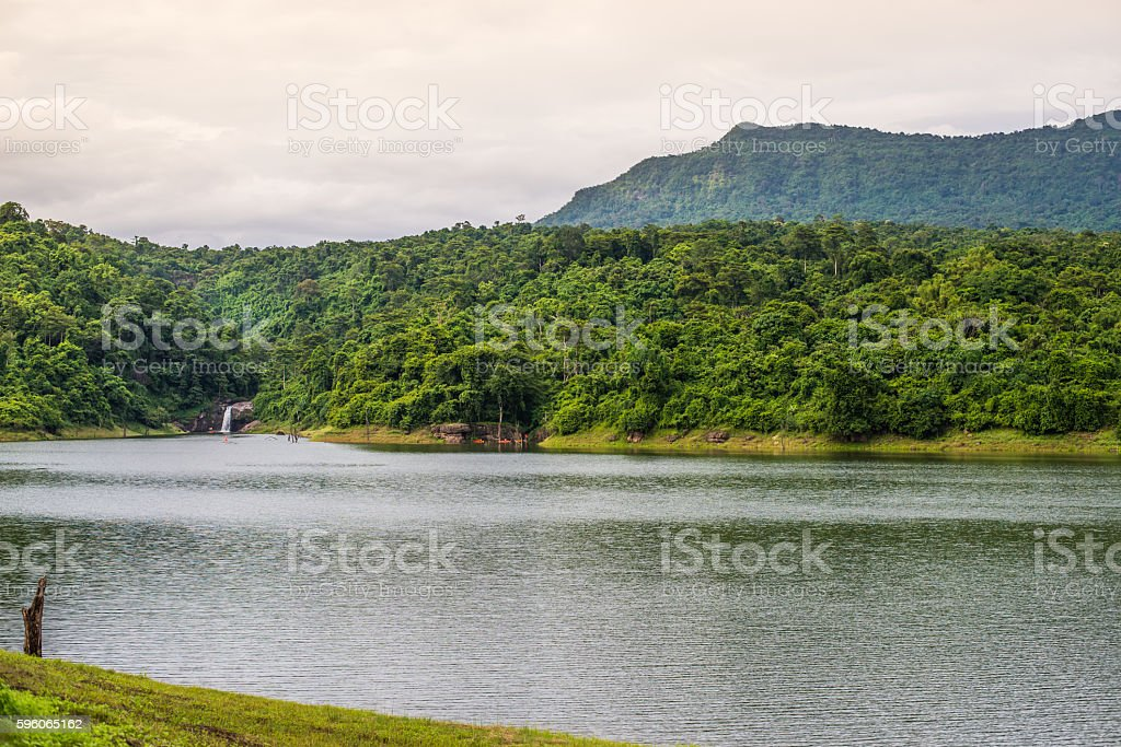 Reservoir with mountain and waterfall background royalty-free stock photo