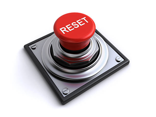 reset button red reset button on the white background (3d render) push button stock pictures, royalty-free photos & images