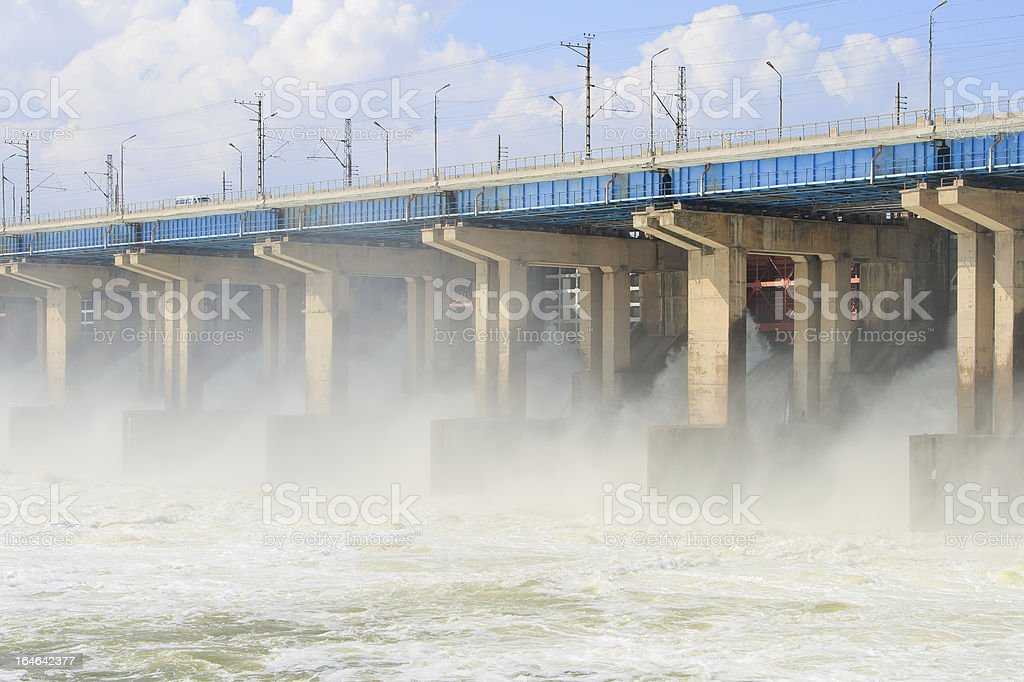 Reset of water at hydroelectric power station on the river royalty-free stock photo