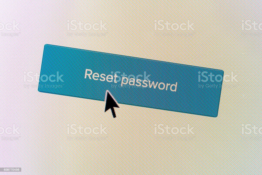 'Reset Password' computer monitor button stock photo