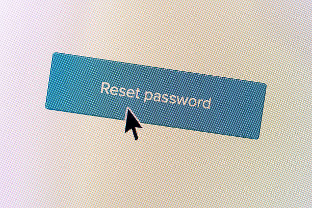 """""""reset password"""" computer monitor button - password stock photos and pictures"""