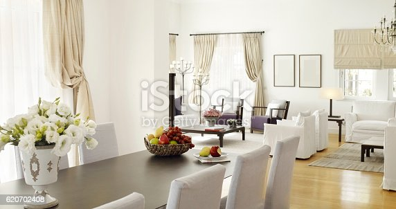 wide angle shot of a chic Residence interior