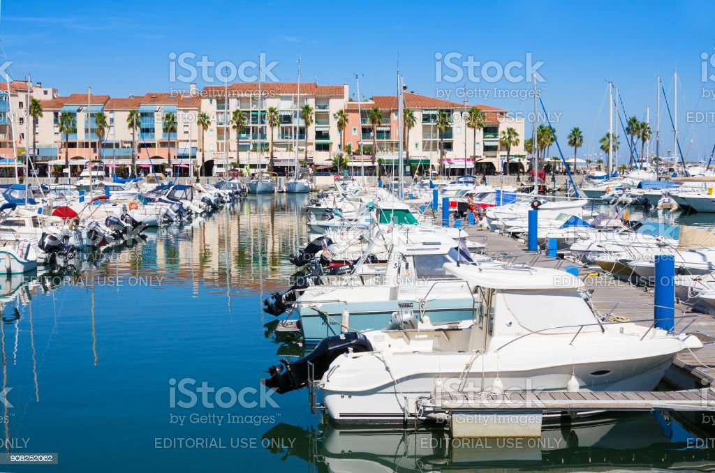 Residence Mer And Golf Port Argeles is set in beach area of Argeles-sur-Mer in Pyrenees-Orientales department, Languedoc-Roussillon region, in southern France stock photo