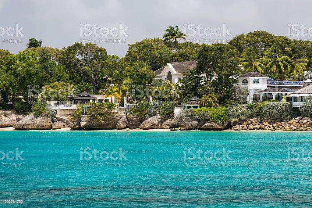 Residences off the coast of Barbados stock photo