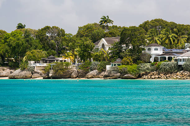 Residences off the coast of Barbados stock photo