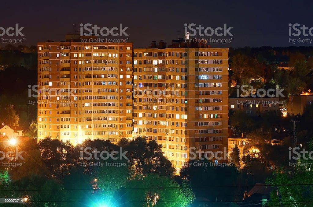 Residental building at night stock photo