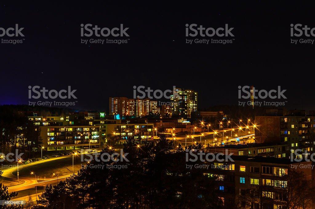 Residental district at night stock photo