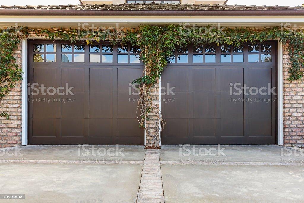 residential 2 car garage stock photo