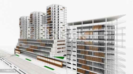 988484300 istock photo Residential and Office Buildings. Wireframe 3D Render. Scale Model. Architecture. 174964278