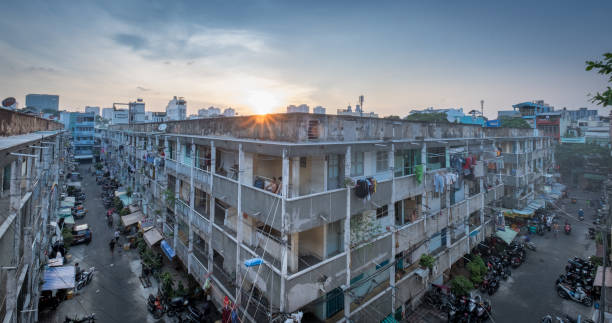 Residential apartment building in Vietnam stock photo