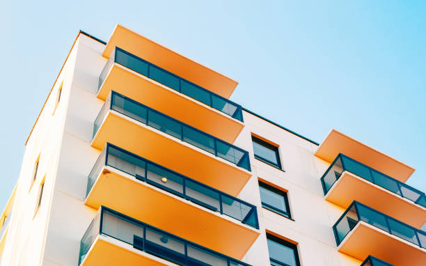 Residential apartment home facade and blank place for copy space stock photo