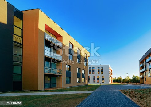 1165384568 istock photo Residential Apartment homes facade architecture and outdoor facilities 1170146066