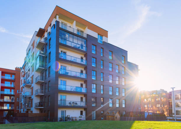 Residential Apartment house facade architecture with outdoor facilities sunlight stock photo
