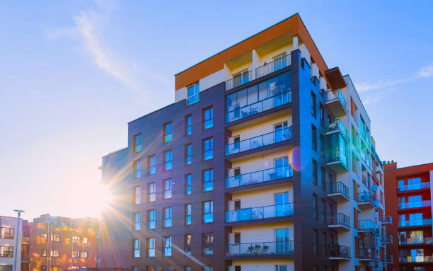 Residential Apartment house facade architecture with outdoor facilities sunlight reflex stock photo