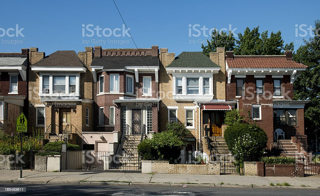 Residential Architecture in Astoria Queens New York City Family Homes stock photo