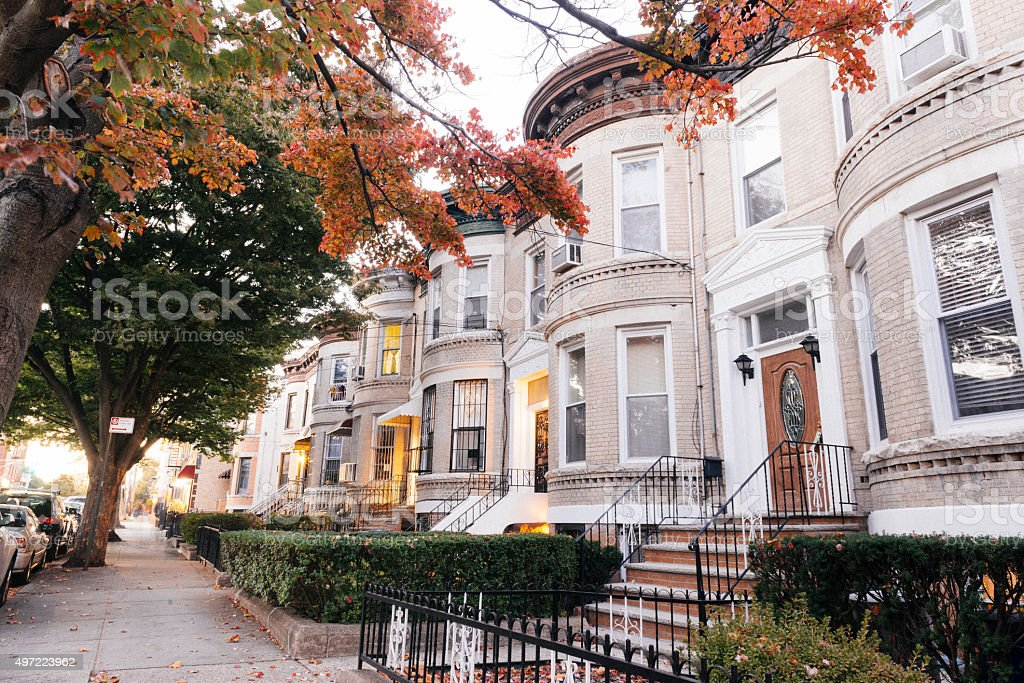 Residential Architecture in Dyker Heights Brooklyn NYC Family Homes stok fotoğrafı