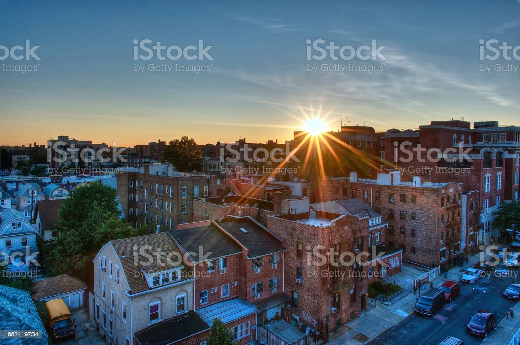Residential Architecture in Elmhurst Queens New York City Family Homes stock photo