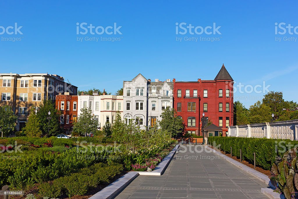 Residential architecture of North East surburb of Washington DC. stock photo