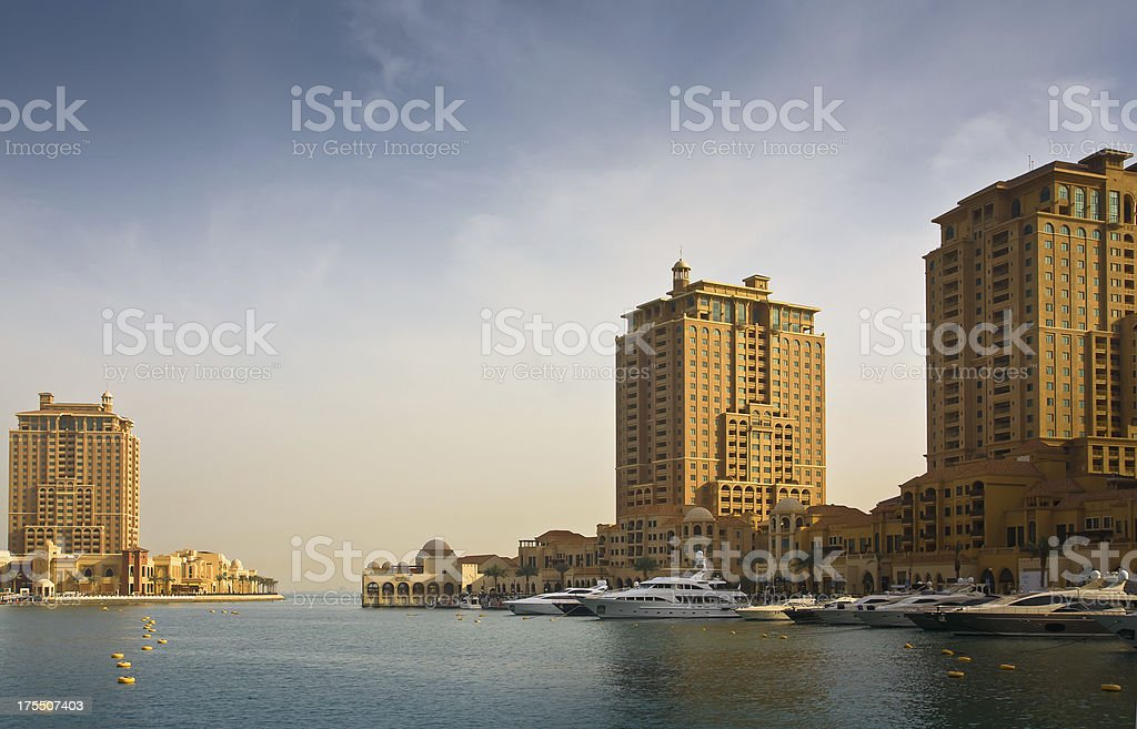 Residential area at the Pearl Qatar royalty-free stock photo