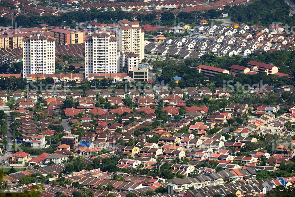 Residential area in penang island stock photo