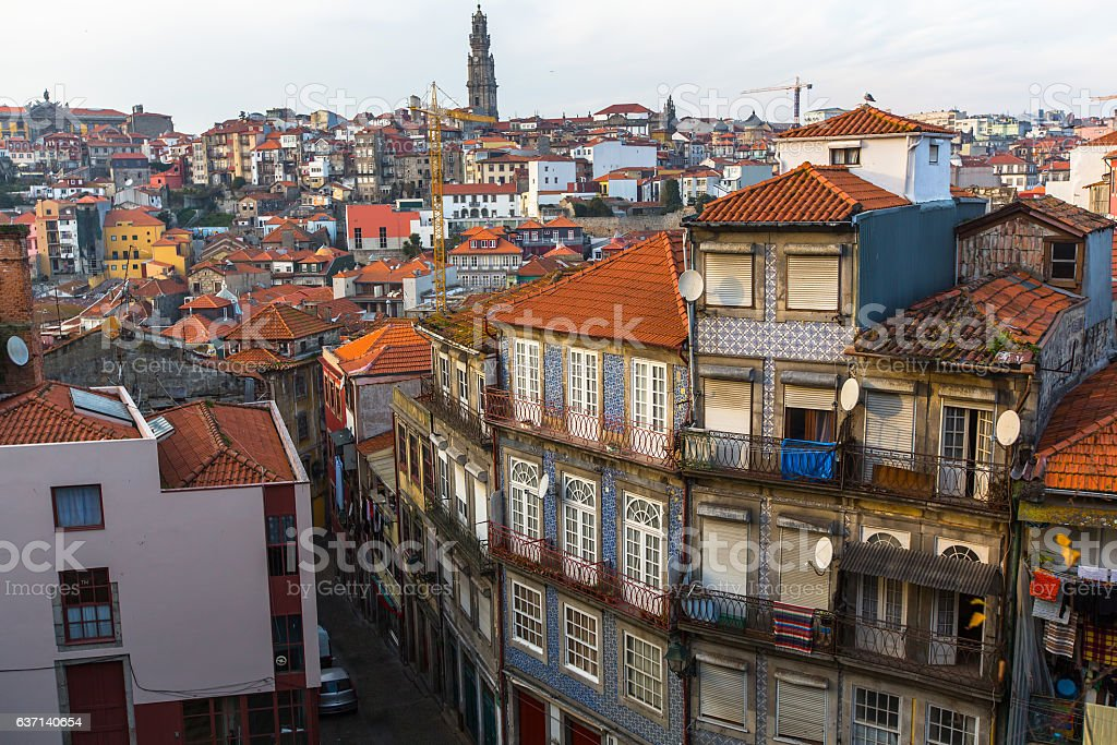 Residential area in the Porto old town, Portugal. stock photo
