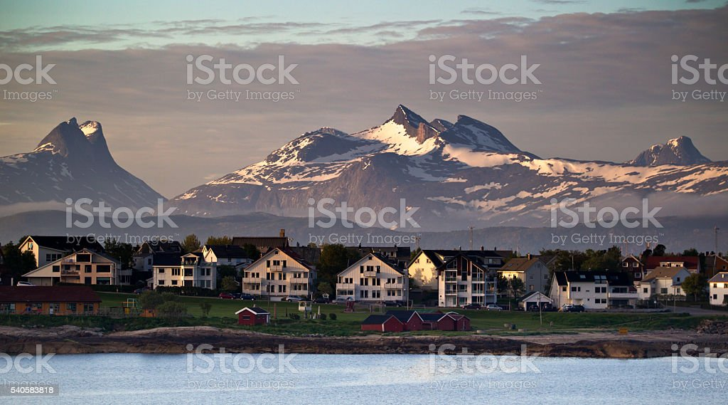 Residential area of Bodø Norway during Midnight Sun stock photo