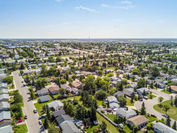 Residential area of Grande Prairie, Alberta, Canada stock photo