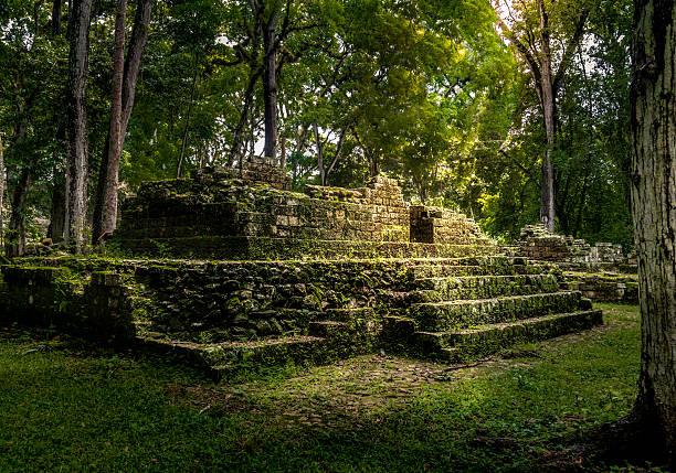 Residential area of Mayan Ruins of Copan, Honduras stock photo