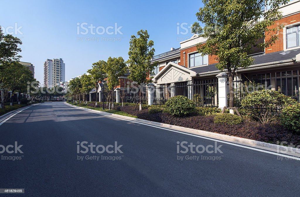 Residential area road stock photo