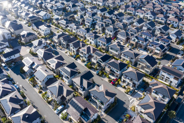 Residential area where houses are dense stock photo