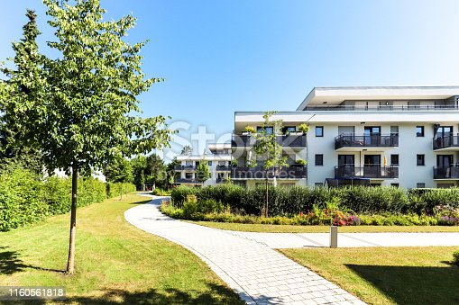 istock Residential area with apartment buildings in the city 1160561818