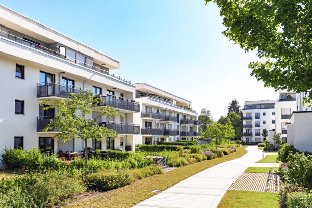 Residential area with apartment buildings in the city Residential area with apartment buildings in the city, Europe grounds stock pictures, royalty-free photos & images