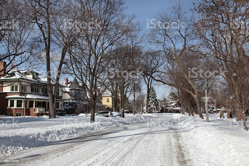 Residential Area with Snow in Winter royalty-free stock photo