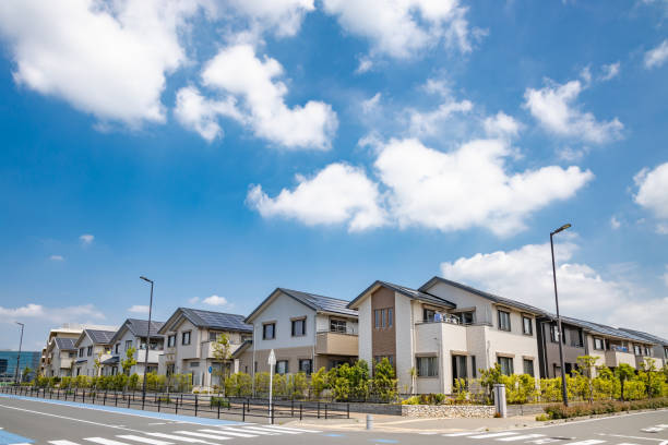 Residential area with solar power stock photo